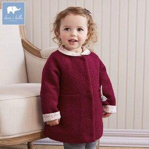 Image 1 - DB5513 dave bella outono infantil roupa dos miúdos da criança roupas de bebê meninas moda sólidos lolvely crianças de alta qualidade casaco de lã