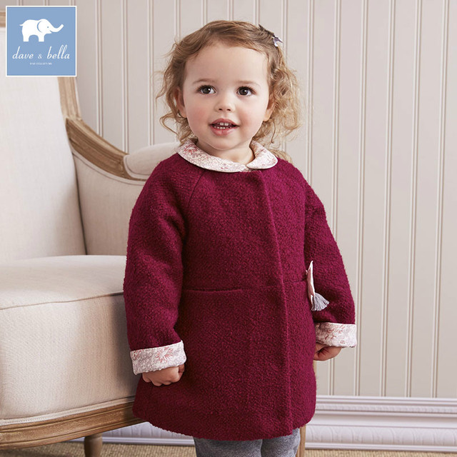 DB5513 dave bella outono infantil roupa dos miúdos da criança roupas de bebê meninas moda sólidos lolvely crianças de alta qualidade casaco de lã