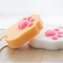 Губка для ванны мяч сетка кисти милый кот лапа напечатаны аксессуары для ванны тело Wisp натуральная сухая кисть для отшелушивания Очищающее Оборудование