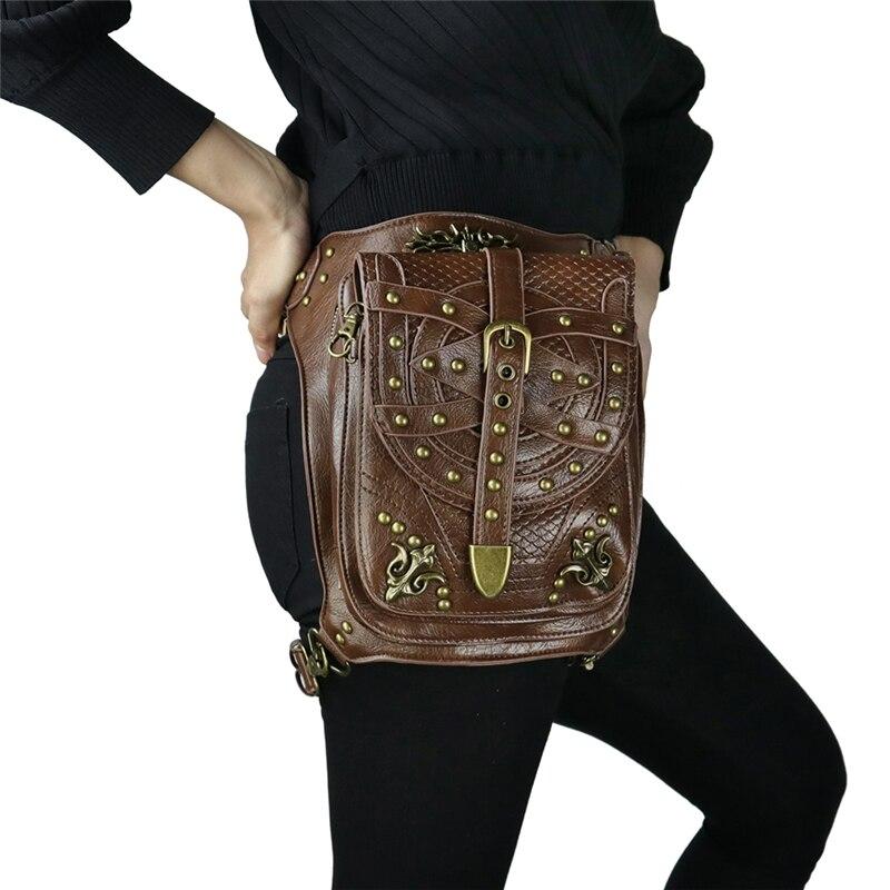 Vintage Rivet Punk Messenger Bags Men Women Travel Shoulder Bag Mobile Phone Bag Fashion Leather Stripe