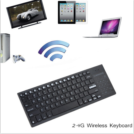 2.4G Ultra-Slim Wireless Keyboard with Touchpad Multi-color Backlit Backlight for Mac Windows Laptop Android TV Box Multi Media