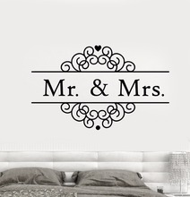 Mr And Mrs Logo Wall Sticker Wedding Salon Studio Home Decoration Vinyl Art Removable Poster Mural  Love Family Decor W158