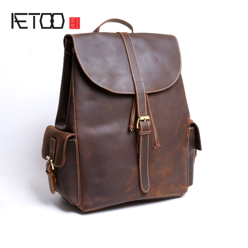 AETOO Crazy horse leather backpack male leather Backpack bag leisure package retro handmade leather computer bag aetoo crazy horse skin male package leisure retro guangzhou leather men bag vertical shoulder bag oblique package men s small ba