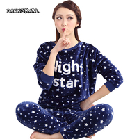 Flannel Two Piece Women S Pajama Sets Night Leisure Long Pants Sleeved Woman Nightgowns Pyjama Sleep