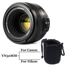 Inseesi YONGNUO yn50mm f/1.8 большой апертурой автоматической фокусировки объектива yn50mm AF/MF линзы для Canon EOS или цифровых зеркальных фотокамер Nikon Камера 50 мм F1.8 объектива