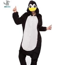 HKSNG Новый животных для взрослых Черный Пингвин пижамы высокое качество  фланель Footed Kigurumi Комбинезоны Костюмы для 5f1dec1e3edfc