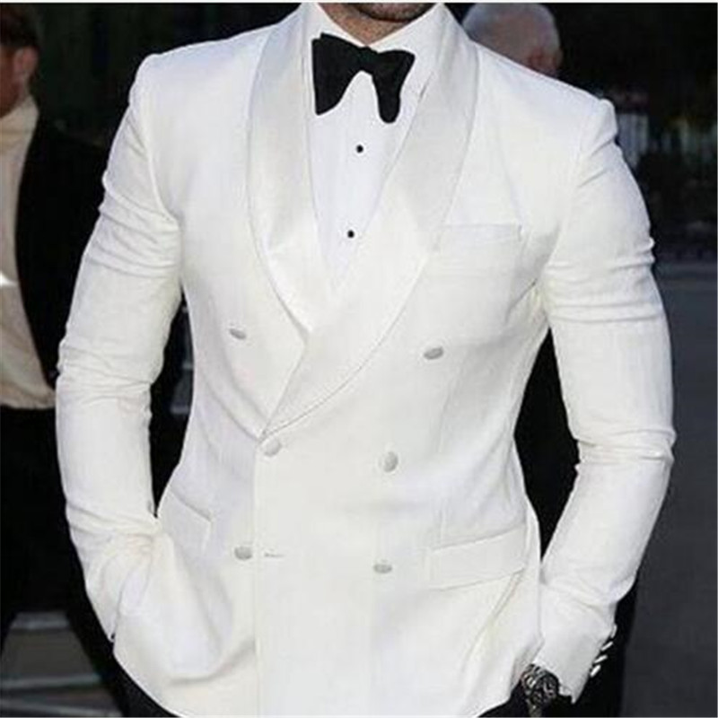 Custom Made White Double Breasted Terno Groom Tuxedos Groomsmen Mens Wedding Suits Groom Prom Blazer( Jacket+Pants+Tie)