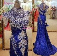 Королевский синий высокая средства ухода за кожей шеи Русалка Вечерние платья элегантные вечерние для женщин расшитый блестками Кристалл