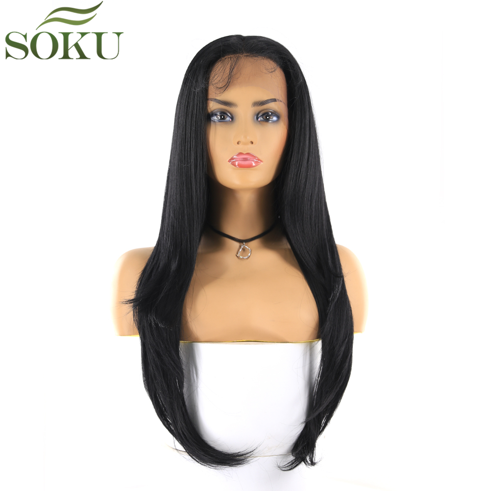 Synthetic Free Part Lace Front Wigs SOKU 13*4 Lace Frontal 26 Inch Straight Wig Glueless Heat Resistant Fiber Wig For Women