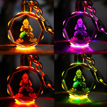 18 Styles Dragon Ball Z Crystal Keyring Key Chain Car LED Pendant Color Flash Light Dragonball Z Super Saiyan Goku Keychain Toys(China)