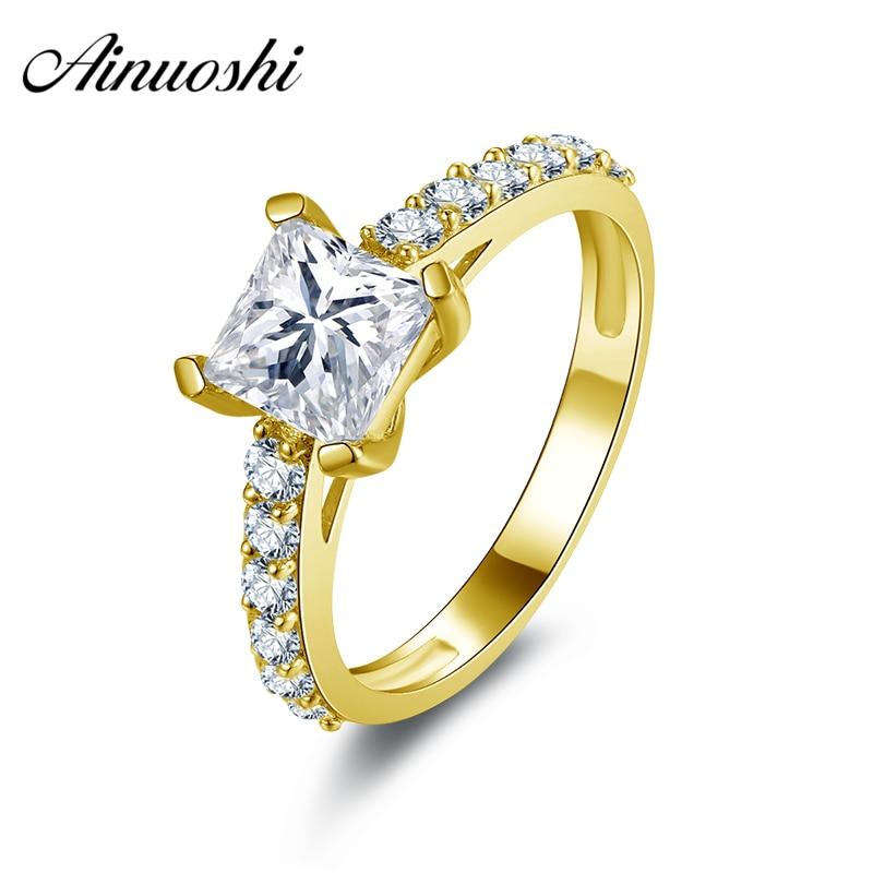 AINUOSHI 10k Solid Yellow Gold Wedding Ring 1.25 ct Classic 4 Prongs Princess Cut CZ Joyeria Fina Top Quality Women Wedding Ring plus laser cut solid top