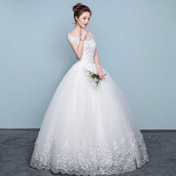 Real Photo Cheap Boat Neck Lace Up Ball Wedding Dresses 2018 Vintage Plus Size Bridal Dress Wedding Gown Embroidery Appliques
