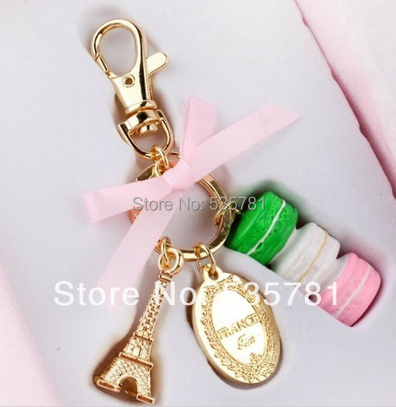 1pcs Macaroons France Effiel Tower keychain keyring cake Bag Charm accessories gift box best friend gifts KC017