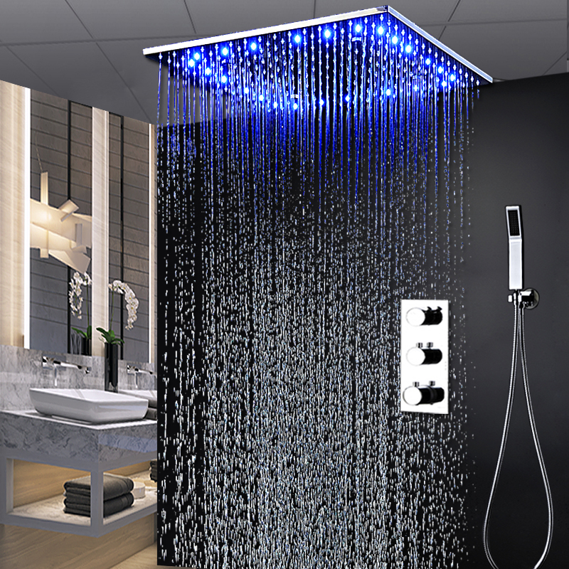 Modern Mist Shower Faucet Set Thermostatic 3 Way Shower System Ceiling Big Rain LED Shower Tap 20 Inch Square Bath