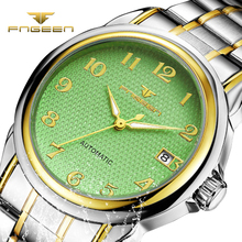 Fngeen Automatic Mechanical Watch 2017 New Mens Watches Top Brand Luxury Busines Fashion Otomatik Saat Cube Wooden clock