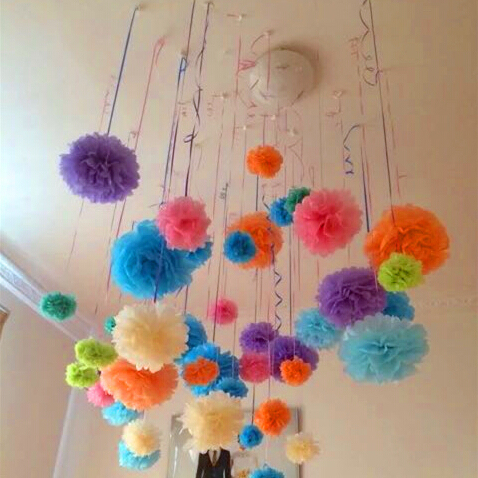 10pcs Paper PomPom Tissue Ball Decorative Supplies Flowers For Wedding Home Party Room Banquet Decoration Pompon Craft Products