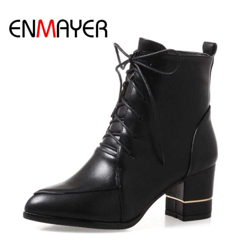 ENMAYER Winter Woman Boots Pointed Toe Lace-up Shoes Winter Warm Boots Black Red  2017 New Fashion Shoes Ankle Boots Big Size enmayer winter woman boots pointed toe lace up shoes winter warm boots black red 2017 new fashion shoes ankle boots big size