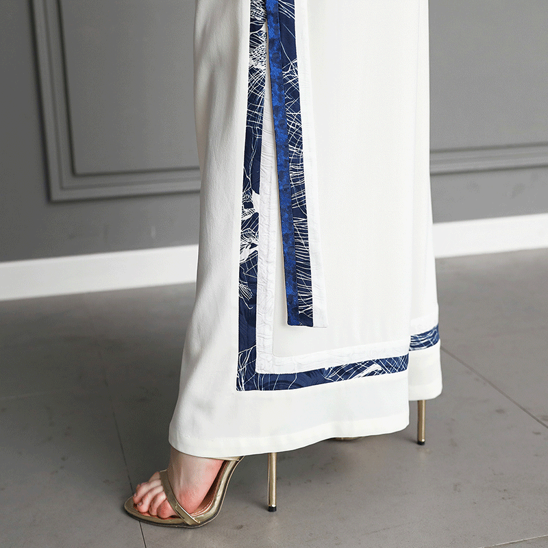 Cintura Verano Las Pesado De Alta Seda Tamaño Plus Mujeres Elegante K523 Largos Voa 5xl Breve Pierna Pantalones Básica Blanco Suelto Ancho 6CHgg