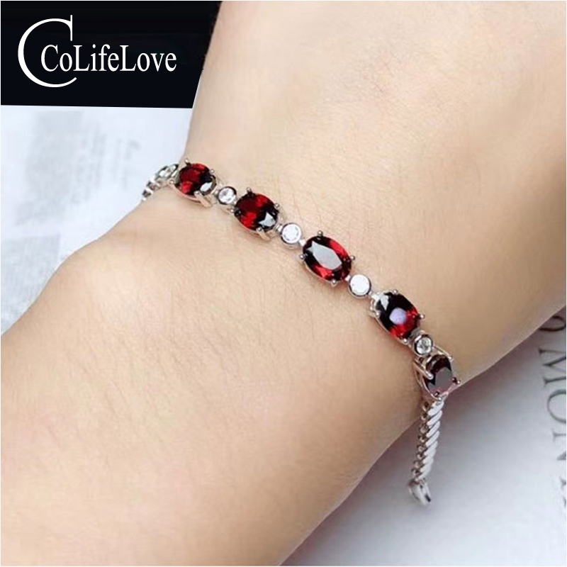 CoLife Jewelry Natural Garnet Bracelet for Party 5 Pieces VVS Grade Garnet Silver Bracelet 925 Silver