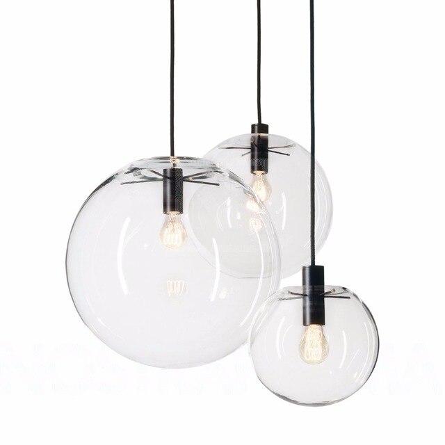 Modern Pendant Lights Globe Glass Lamp For Kitchen Room Dining Vintage Hanging Light Fixtures