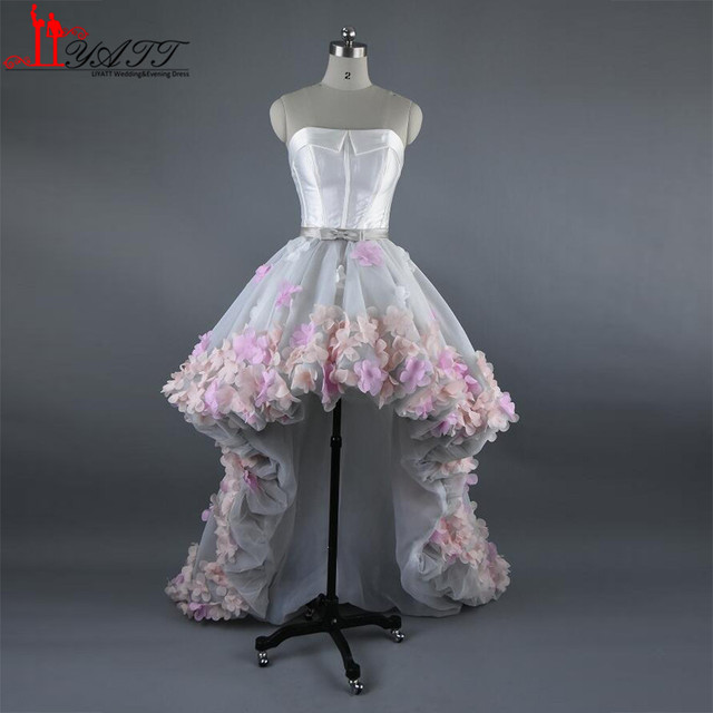 2017 High Low Prom Dresses Fairy 3D Flowers Tulle Corset Bustier ...