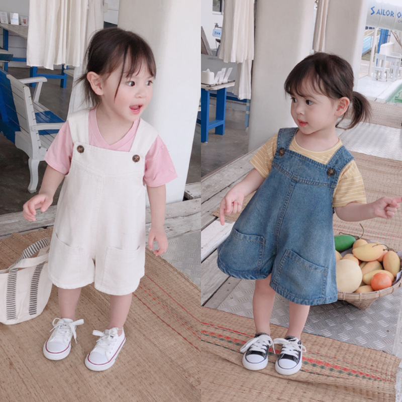 2019 Summer New Kids Clothes Korean Girls Baby Loose Leisure Big Pocket Solid Color Pants Children Jeans