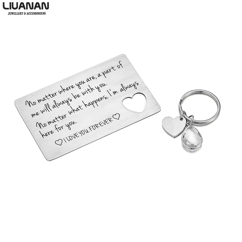 Couple Lover Gift Stainless Steel Heart Keychain for Her Wallet Insert for Him Valentines Day Long Distance Relationship Gift(China)
