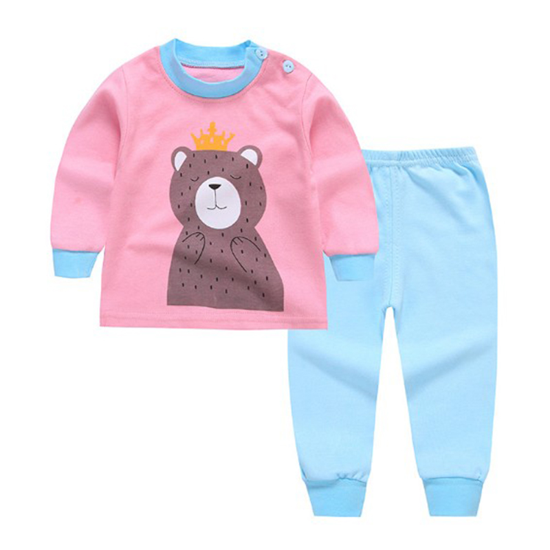 Детская одежда из 2 предметов для маленьких мальчиков и девочек, топ+ штаны, хлопковые пижамы для малышей, одежда для сна - Цвет: 2
