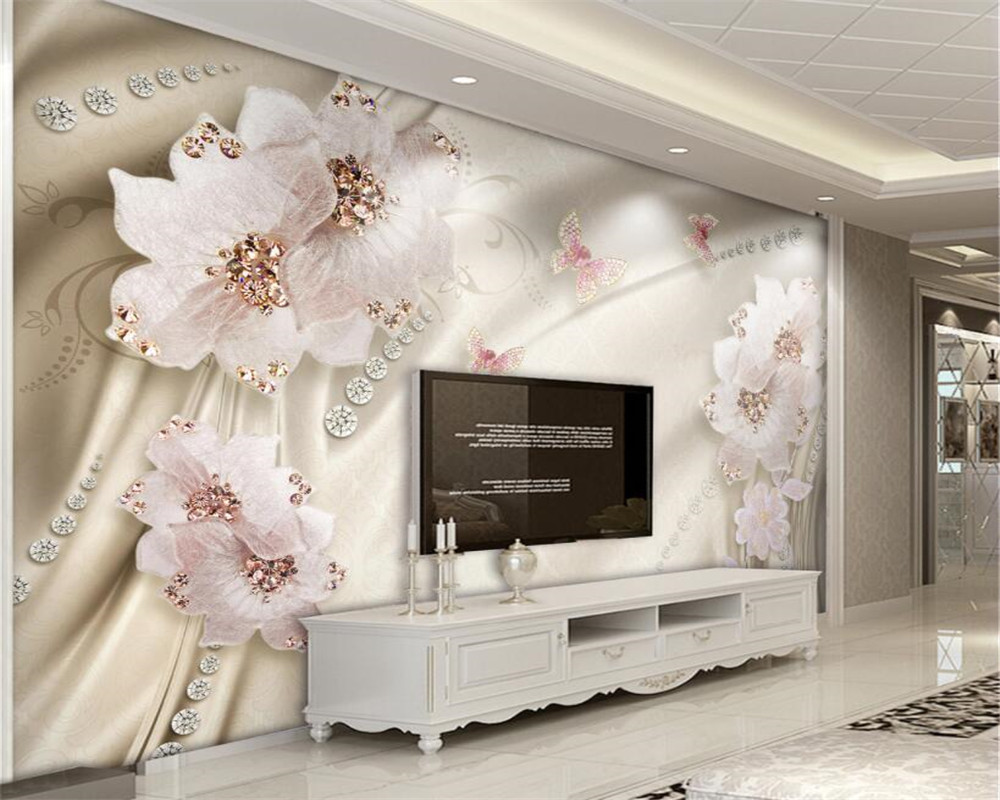 beibehang Living room bedroom decorated 3D wallpaper Luxury Diamond Flower 3d Swan Jewelry TV Wall Photo Wallpaper mural behang beibehang golden fountain fair 3d photo wallpaper mural living room bedroom corridor tv background wallpaper for walls 3 d