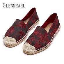 9b2089a7f Casual Sapatos Mocassins Mulher Bling Mulheres Flats Primavera Palha Sapatos  Pescador Senhoras Plus Size Sapatos de