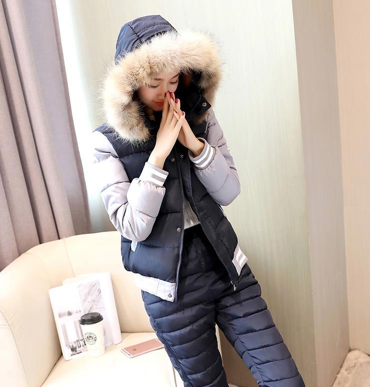 2018 New Winter Jacket Suit Autumn or Spring Fur Collar Fashion   Parka   Coat + Pants 2 Piece Set Woman winter jacket 291