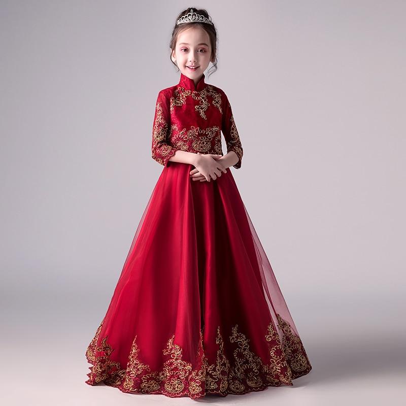 Filles chinois robe Cheongsam robe de mariée infantile Festival tenue scène Costumes pour filles Qipao fille chinois robe enfants AA4464
