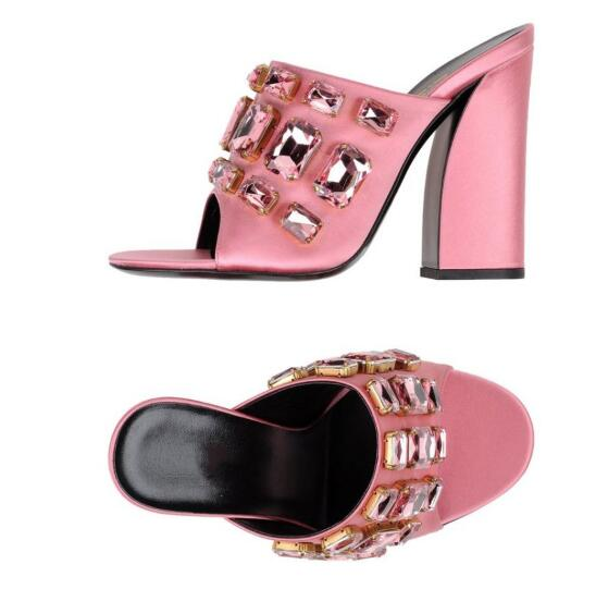 Hot Selling Crystal Embellished Women Sandals Peep Toe Chunkly Heels Women Slippers Cut out High Heels Mules Big Size 10 in High Heels from Shoes