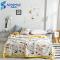 Cartoon Dinosaurs Kids Summer Quilt Comfortable Quilted Air Conditioning Blanket Students Childrens Washable Light Bed Quilts