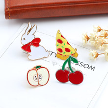 Kreatif Lucu Hewan Animasi Kelinci Bros Lencana Cherry Pizza Apple Enamel Pin Wanita Jaket Dekorasi Pin Bros Perhiasan(China)