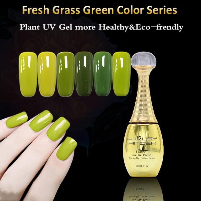 Dedo de lujo 1 unids 15 ML Hierba Verde UV Gel Esmalte de Uñas ...