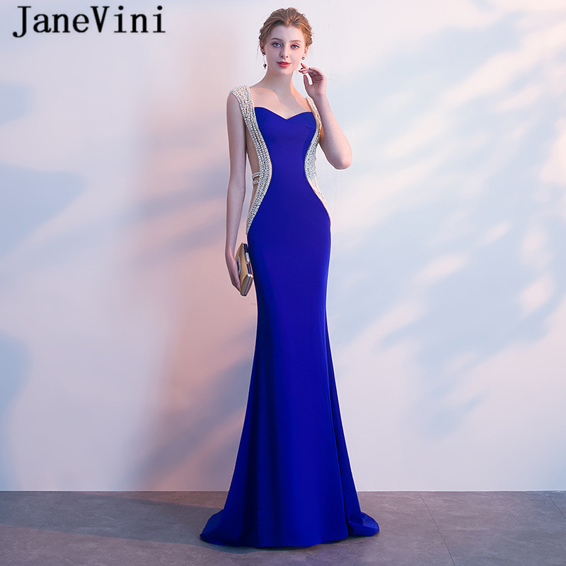 JaneVini Luxurious Pearls Crystal Mermaid Long Bridesmaid Dresses  Sweetheart Satin Floor Length Royal Blue Prom Dress for Women-in Bridesmaid  Dresses from ... 6c5bd04e3a6c