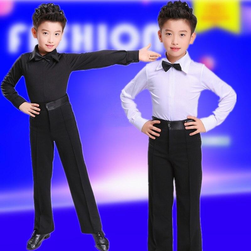 New Boy Latin Ballroom Dance Set Costume Children Latin Shirt Suit Rumba Samba Dancewear Latin Dance Competition Clothes