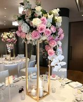 40CM Gold Flower Floor Vase Geometric Stand Metal Rectangle Road Lead Wedding Table Centerpieces Event Party Decoration