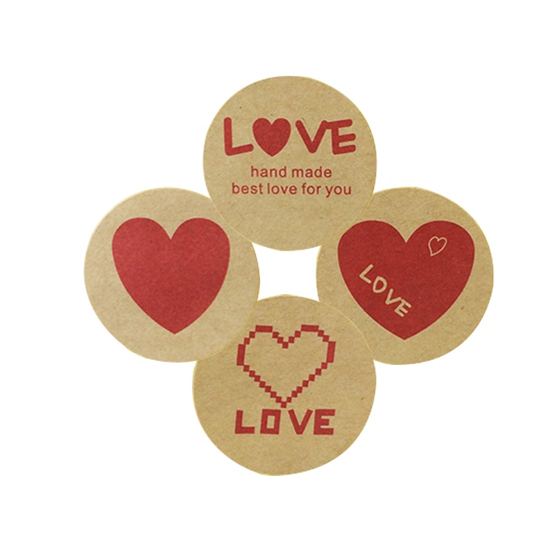 120pcs lot Vintage Romatic Love Heart Series Round Kraft Paper Sticker For Handmade Products Sealing Label FOR Gifts in Stickers from Home Garden
