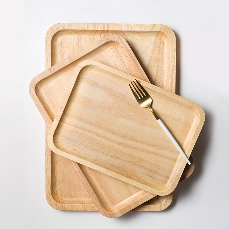 1Pc Wooden Tray Solid Wood Dish Plate Rectangular Shape Tea Cake Tray Large Fruit Bread Food Serving Tray Kitchen Wooden Utensils