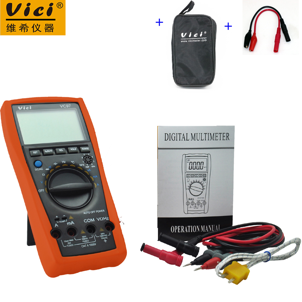 VICI VC97 3 3/4 digital multimeter voltmeter AC/DC voltage current Resistance Capacitance frequency Tester + Alligator Probe vici vc88 3 3 4 autorange digital multimeter dmm w logic test f t r c dc ac v a