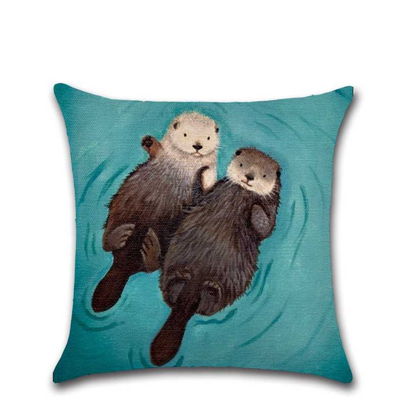 Romantic Otter Couple Printing Cotton Linen Square Sofa Cushion Cover Nap Throw Pillow Case Car Decorbox Home Decor Supplies