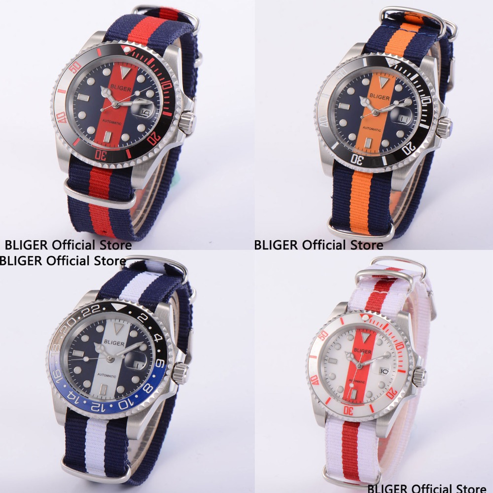 Sapphire Glass 40MM BLIGER Black White Dial Ceramic Bezel Men's Watch Luminous Miyota Automatic Movement Nylon Strap B5