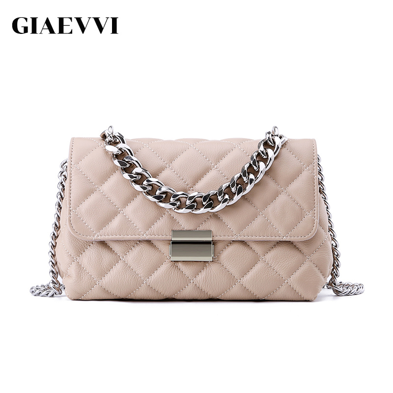 GIAEVVI Luxury Handbag Women Messenger Bags Genuine Leather Clutch Chain Shoulder Bag Designer Crossbody Bags Ladies Wristlets giaevvi women leather handbag small flap clutch genuine leather shoulder bag diamond lattice for grils chain crossbody bags