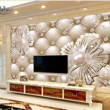 Wallpaper Jewelry Diamond Customize Flowers Bedroom Beibehang Living-Room Luxury 3D Soft