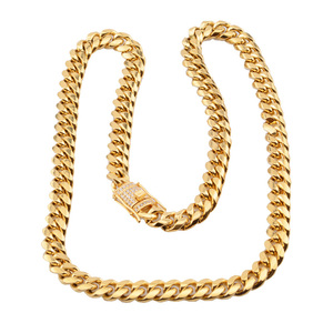 Image 4 - 6 18mm wide Stainless Steel Cuban Miami Chains Necklaces CZ Zircon Box Lock Big Heavy Gold Chain for Men Hip Hop Rock jewelry