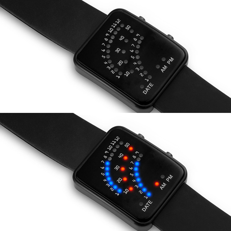 Droppshiping LED Electronic Wrist Watch Sector Binary Digital Waterproof Fashion Unisex Couple Watches BFJ55