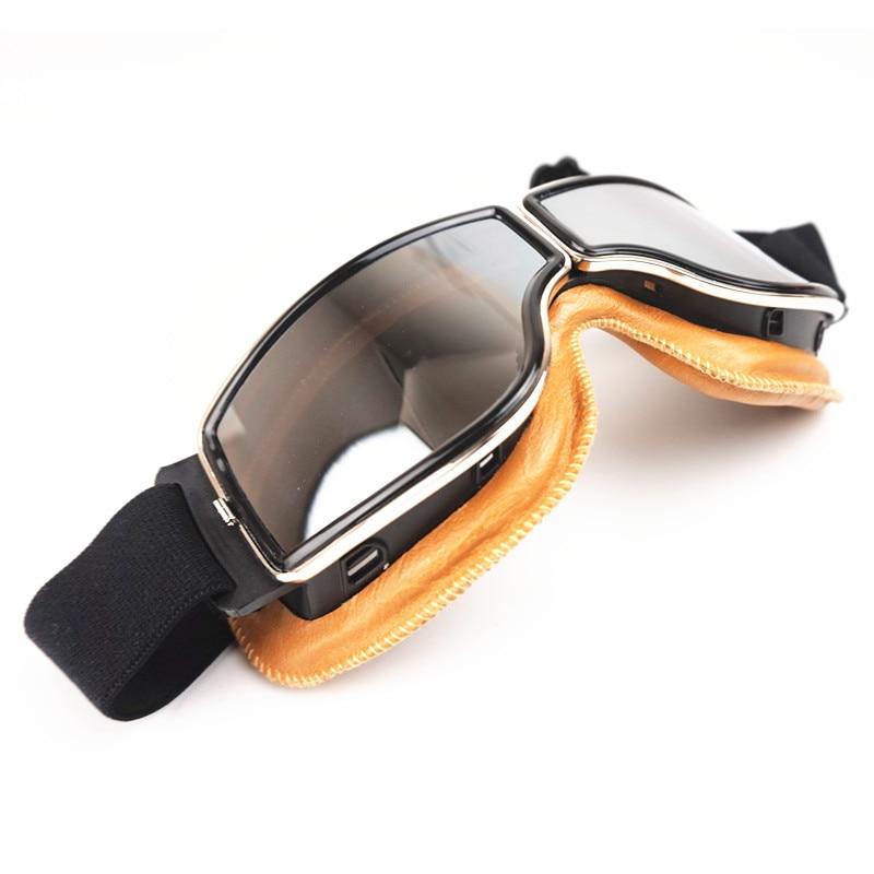 d0b08740e6 VCOROS Sports Vintage aviateur pilote moto Cruiser Scooter lunettes argent  lentille jaune cuir rembourrage pour casque harley dans Lunettes de  Automobiles ...