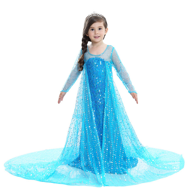Frozen Elsa Princess Infant Kids Children Long Sleeve Sequin Cosplay Dress